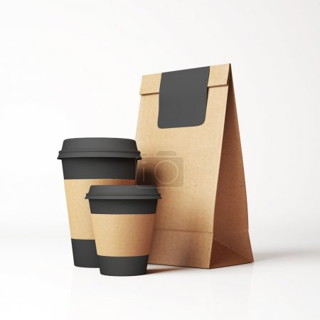 Photo pour Paper bag and glasses on light background - image libre de droit