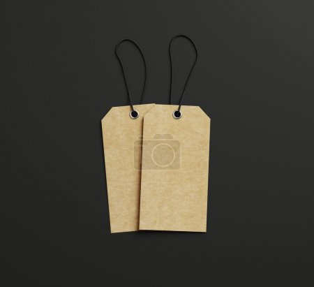 Photo for Two labels with ropes on paper background - Royalty Free Image