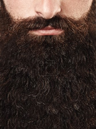 Photo pour Close up portrait of long beard and mustache man - image libre de droit