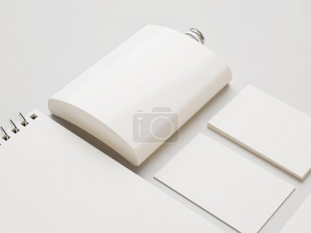 Flask with business cards