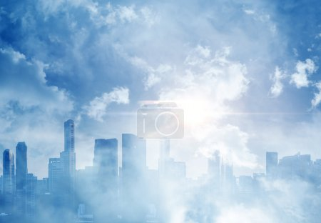 Photo for Panoramic view of megalopolis city and clouds - Royalty Free Image