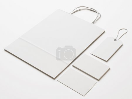 Photo for Set of white branding elements on light paper background - Royalty Free Image