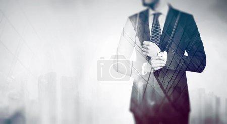 Businessman over city concept