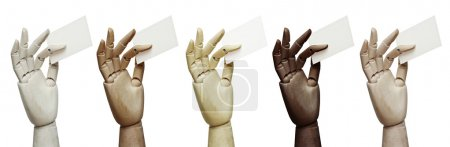 Wood hands with business cards