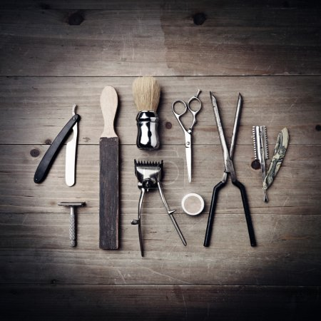 Vintage equipment of a barber