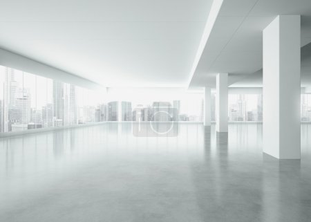Photo for Office interior with large windows. 3d render - Royalty Free Image