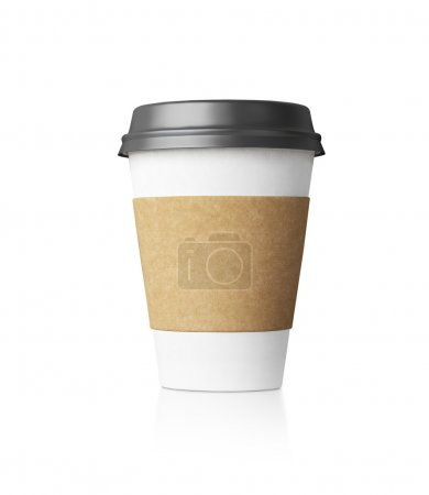 Photo for Paper cup of coffe isolated on the blank background - Royalty Free Image