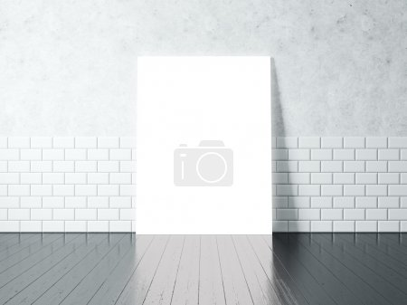 White poster on a concrete wall with white bricks. 3d rendering