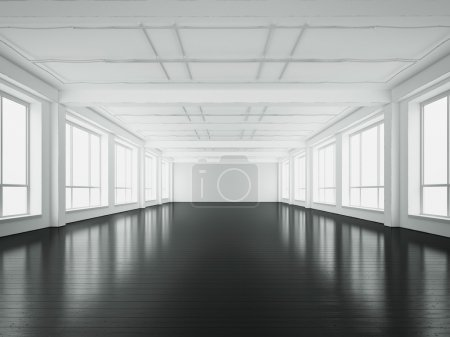 Photo for White empty office interior with large windows - Royalty Free Image
