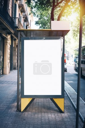 White mock up on the bus stop