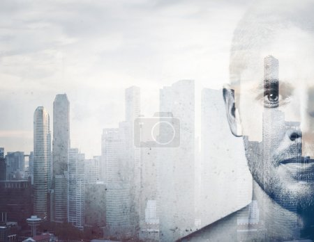 Double exposure attractive man and the city