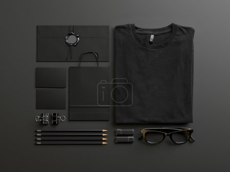 Set of black mockup elements