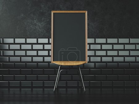 Photo for Black blank frame on the chair and vintage wall on the background in modern interior - Royalty Free Image