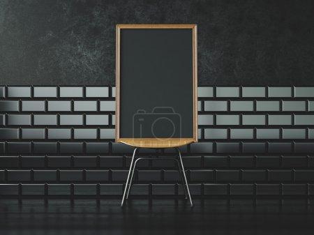 Photo pour Cadre blanc noir sur le mur de chaise et vintage sur le fond dans un intérieur moderne - image libre de droit