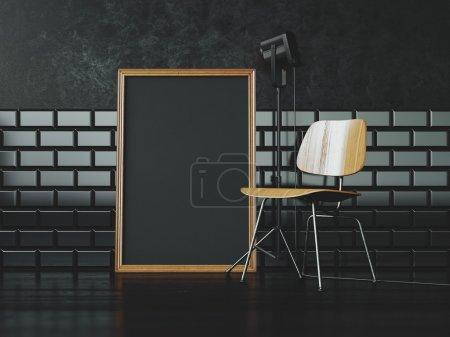 Photo pour Cadre blanc noir sur le mur de chaise et vintage sur la lumière de l'arrière-plan et photo - image libre de droit
