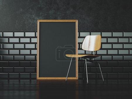 Photo pour Cadre blanc noir sur le mur de chaise et vintage sur le fond - image libre de droit