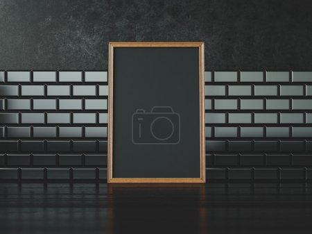 Photo pour Cadre blanc noir et mur sur le fond - image libre de droit