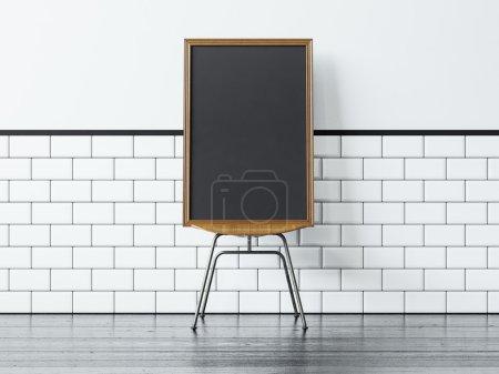 Photo pour Cadre blanc noir sur le mur vintage chaise et blanc sur le fond - image libre de droit