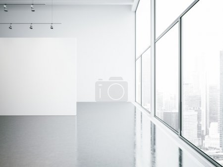 Mock up of empty white gallery interior and panoramic windows. 3d render