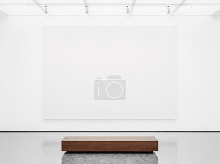 Photo pour Maquette de galerie blanche vide intérieur avec toile blanche - image libre de droit