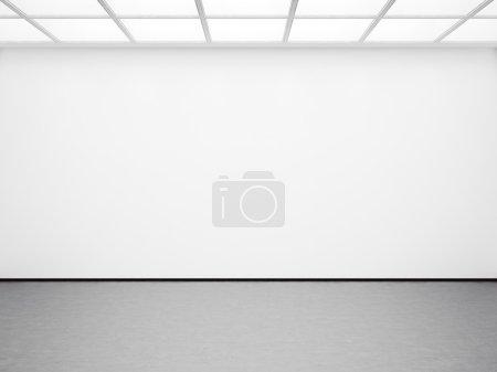 Foto de Burla de interior galería blanca vacía con piso de hormigón - Imagen libre de derechos