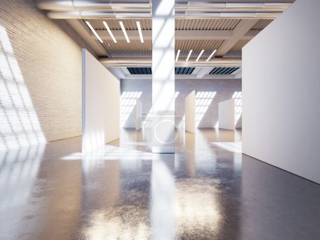 Photo for Mock up of modern white gallery interior with white canvas - Royalty Free Image