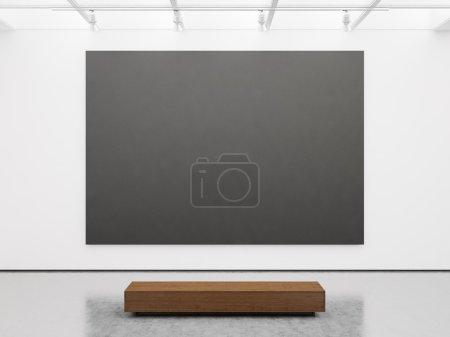 Photo pour Maquette de l'intérieur de la galerie blanche vide avec toile noire - image libre de droit