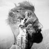 BW double exposure portrait of a man with mohawk and amountain