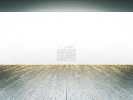 Photo for Panoramic wall in museum interior with wooden floor. Horizontal - Royalty Free Image