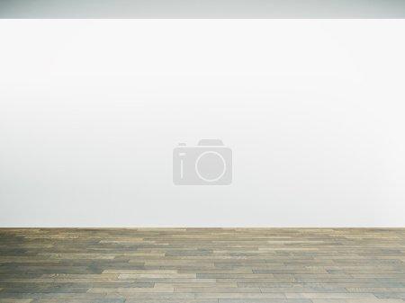 Photo pour Mur blanc à l'intérieur du musée avec parquet. Horizontal - image libre de droit