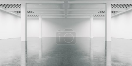 Open space interior with concrete floor. 3d render