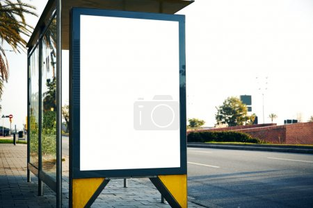 Empty lightbox on the bus stop