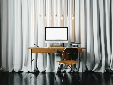 Contemporary workspace in modern office