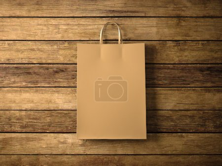 Craft shopping bag on the wooden background. In focus. Horizontal. 3d render