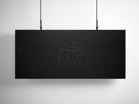 Photo for Photo of blank black canvas hanging on the white background. - Royalty Free Image