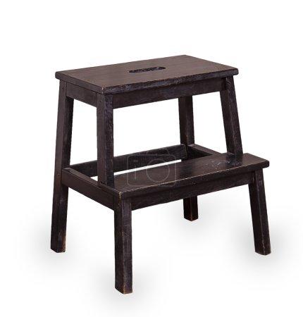Photo pour Peint noir tabouret de bois isolé sur fond blanc - image libre de droit