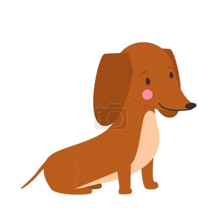 Illustration of cute dog dachshund