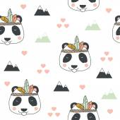 Beautiful indian seamless pattern of panda bear with feathers in vector  Cute cartoon background in bright colors