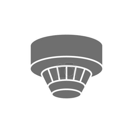 Illustration pour Détecteur de fumée vectoriel, icône grise du système d'alarme. Illustration de symboles et de signes. Isolé sur fond blanc - image libre de droit