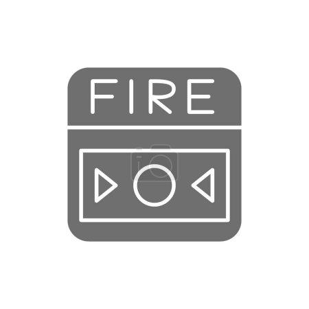 Illustration pour Système d'alarme incendie vectoriel, icône en gris bouton. Illustration de symboles et de signes. Isolé sur fond blanc - image libre de droit