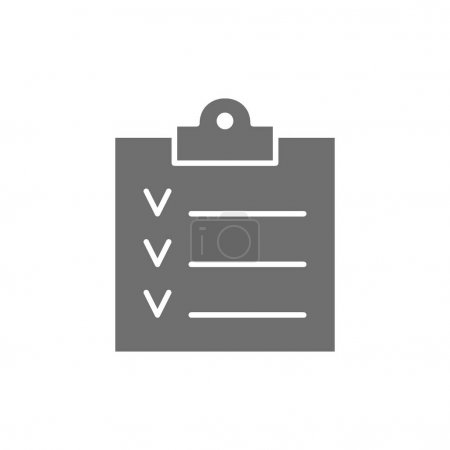 Illustration for Vector checklist, clipboard, result paper grey icon. Symbol and sign illustration design. Isolated on white background - Royalty Free Image