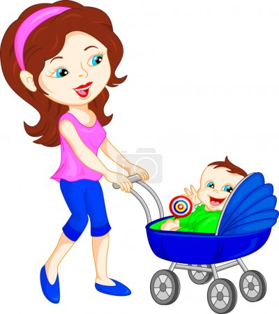 young mother with baby in stroller