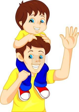 Illustration pour Illustration vectorielle de Père donnant à son fils une balade à dos de cochon - image libre de droit