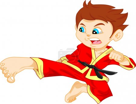 Illustration for Vector illustration of cute karate boy - Royalty Free Image