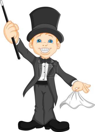 Illustration pour Illustration vectorielle de mignon garçon magicien dessin animé - image libre de droit