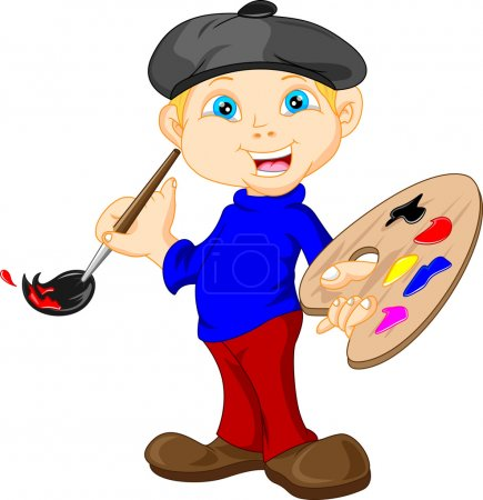 Illustration for Vector illustration of cute Boy is painting with paintbrush - Royalty Free Image