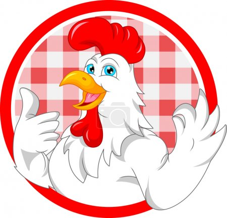 cute rooster cartoon mascot
