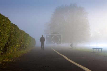 Man at urbanized path during misty weather