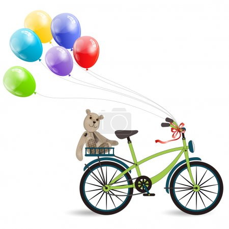 two-wheeled bike with colourful balloons and Teddy bear