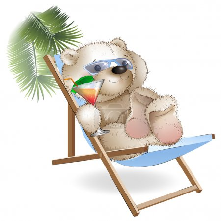 A bear lying sun loungers by the sea